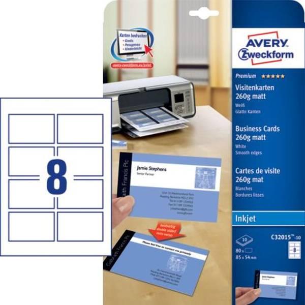 C32015 10 Premium Visitenkarten, 85 x 54 mm, Inkjet Spezialbeschichtung beidseitig matt, 10 Blatt 80