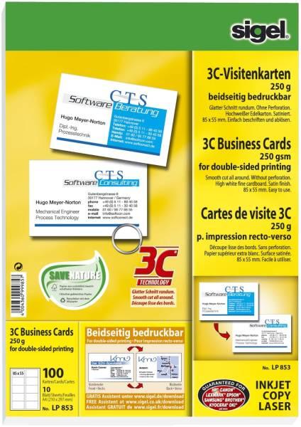 SIGEL Visitenkarte 3C hochweiß 100 Kart. beids LP853 Format 85x55mm 250g