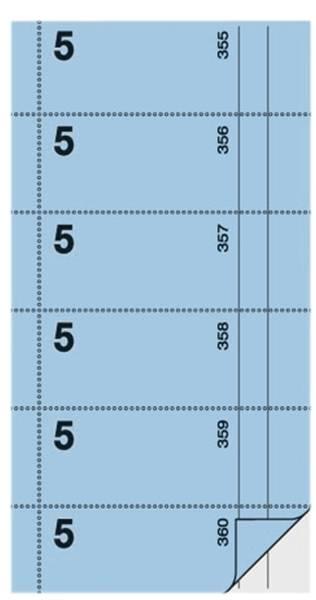 Bonbuch Kellner Nr 5 , 360 Abrisse, BL, hellblau, 105x200 mm, 2 x 60 Blatt