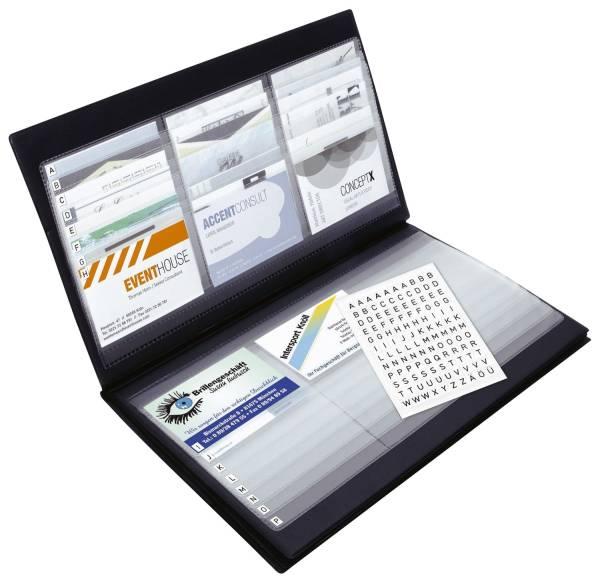 Visitenkarten Sammler, schwarz, matt, mit selbstklebendem Register