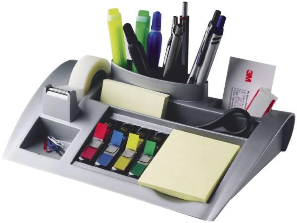 Schreibtischorganizer silber metallic befüllt