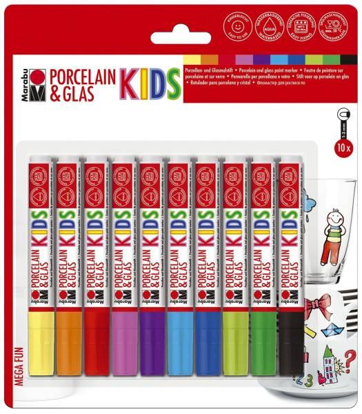 Porzellan Glasmalstift Kids 10ST sort