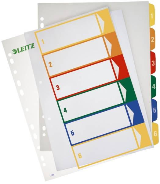 1292 Zahlenregister PP, blanko, bedruckbar, A4 Überbreite, 6 Blatt, farbig