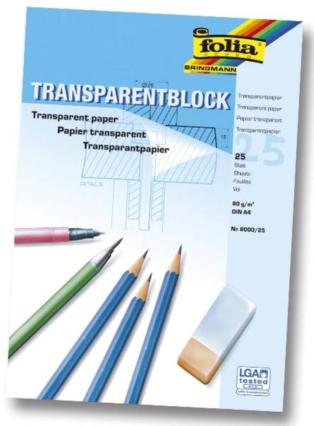 FOLIA Transparentpapierblock A4 25BL 8000/25 80g