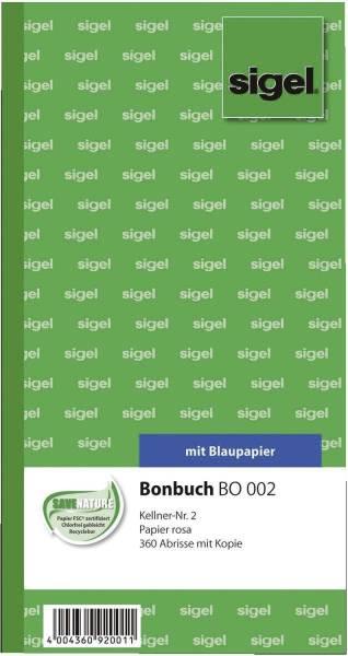 Bonbuch Kellner Nr 2, 360 Abrisse, BL, rosa, 105x200 mm, 2 x 60 Blatt