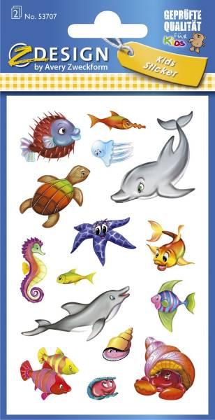 Z Design 53707, Kinder Sticker, Meerestiere, 2 Bogen 30 Sticker