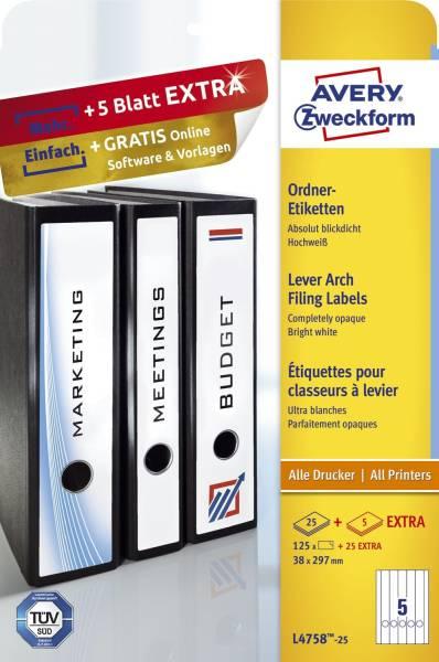 L4758 25 Ordner Etiketten, 38 x 297 mm, schmale Ordner (lang), 30 Bogen 150 Etiketten, weiß
