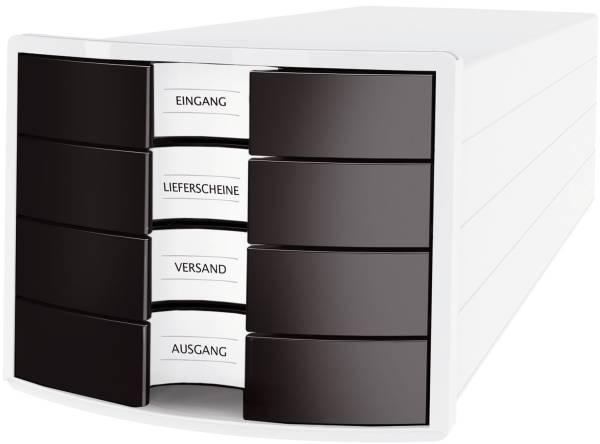 Schubladenbox IMPULS A4 C4, 4 geschlossene Schubladen, weiß schwarz