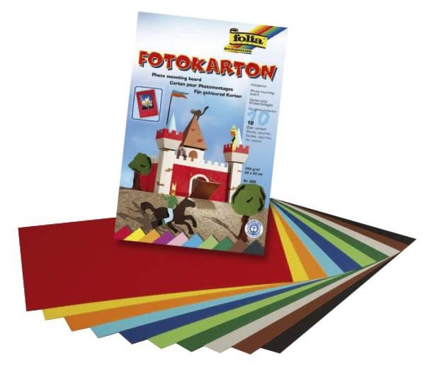 Fotokartonblock 22 x 33 cm, 300 g qm, farbig sortiert, Block mit 10 Blatt
