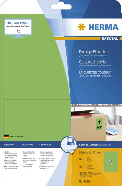 4499 Etiketten grün 199,6x143,5 mm Papier matt 40 St ablösbar