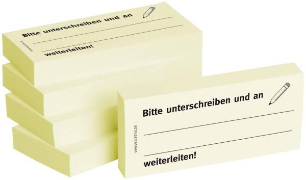 Bedruckte Haftnotizen Text: Bitte unterschreiben und an, weiterleiten