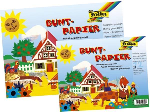 Buntpapier Hefte, gummiert, 23x25cm, 12 Blatt, 12 farbig