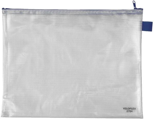 Reißverschlusstaschen transparent blau, A4, 355 x 270 mm