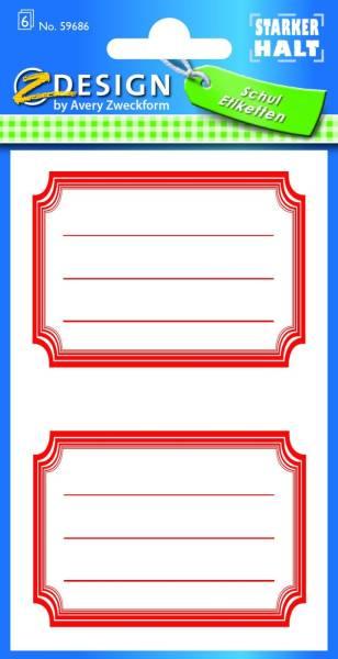 AVERY ZWECKFORM Buchschild Rahmen rot 59686
