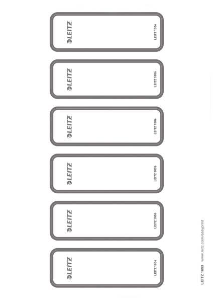 1693 Rückenschild WOW Ordner selbstklebend, PC beschriftbar, schmal, 60 Stück, grau