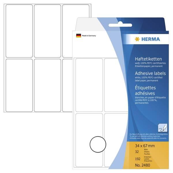 HERMA Etiketten 34x67mm 192 Stück weiß 2480 permanent haftend