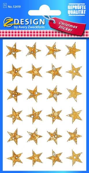 AVERY ZWECKFORM Weihn.Schmucketikett Sterne 52419