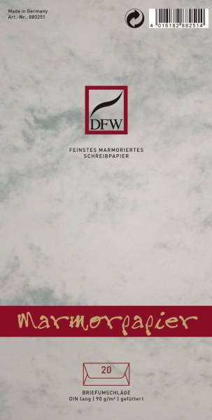 DFW Briefumschlag DL 20ST grau 880251 Marmorpapier