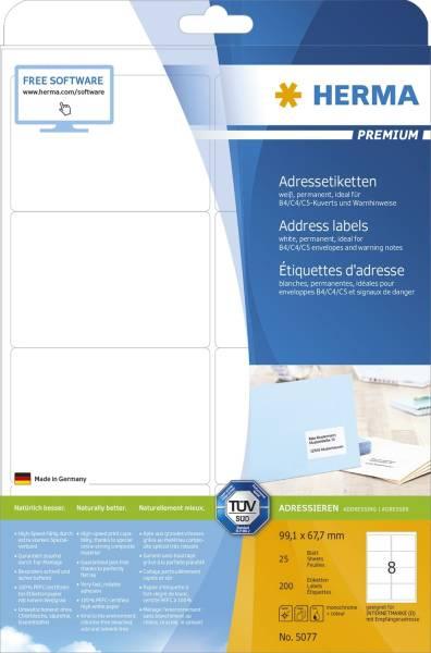 5077 Adressetiketten Premium A4, weiß 99,1x67,7 mm Papier matt 200 St