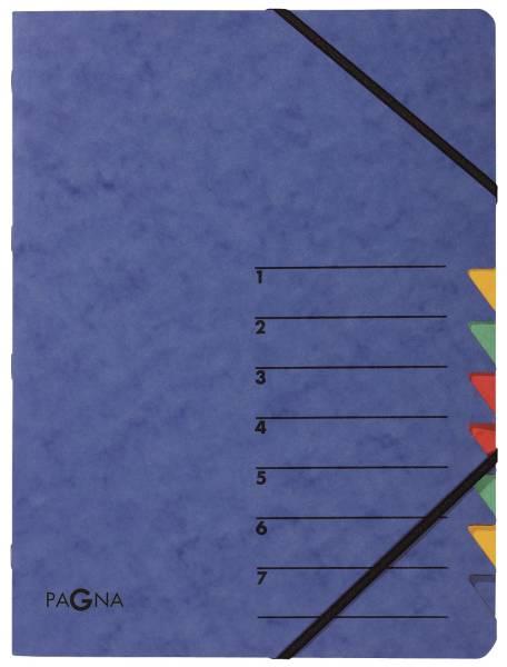 Ordnungsmappe EASY 7 Fächer, A4, Pressspan, 265 g qm, blau