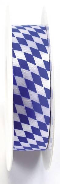 Zier Acetatband 25 mm x 25 m, Raute, weiß blau
