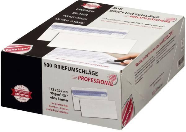 Briefumschlag Revelope 112 x 225 mm, o Fenster, weiß, 90 g qm, Innendruck, Revelope Klebung, 500 Stü