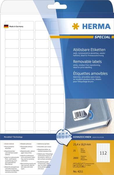 4211 Etiketten A4 weiß 25,4x16,9 mm Movables ablösbar Papier matt 2800 St