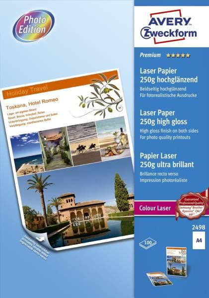 2498 Premium Colour Laser Papier, DIN A4, beidseitig beschichtet hochglänzend, 250 g qm, 100 Blatt