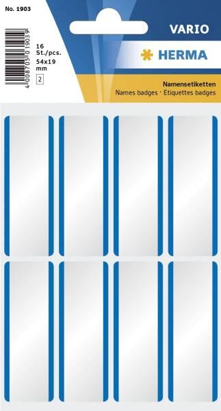 1903 Namensetiketten weiß blaue Streifen 54x19 mm ablösbar Acetatseide 16 St