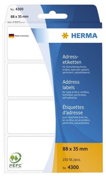 HERMA Adressetiketten Endlos 88x35mm 4300 250 Stück leporello-gefalzt
