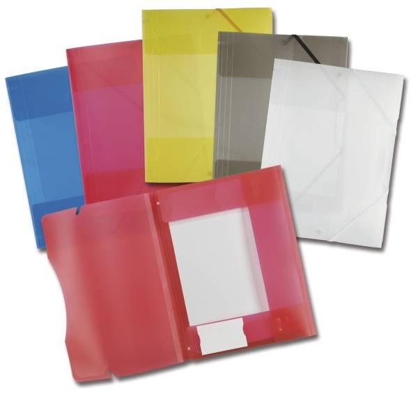 Sammelmappe mit Gummiband, DIN A4,transparent, 5 Farben