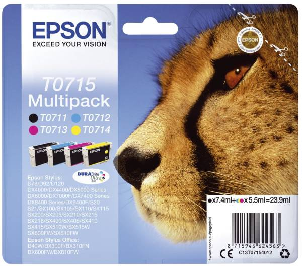 EPSON Inkjetpatrone sw,c,m,y 4ST C13T07154012 Multipack