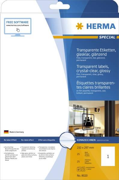 HERMA Folienetiketten A4 glasklar 8020 wetterf. 25 St. permanent