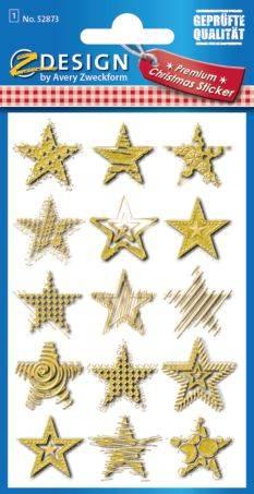 AVERY ZWECKFORM Weihn.Schmucketikett Sterne gold 52873