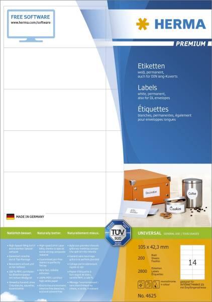 HERMA Universaletiketten 105x42,3mm weiß 4625 2800 Stück permanent haftend