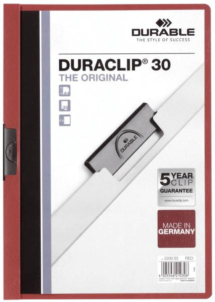 Klemm Mappe DURACLIP 30, DIN A4, rot®