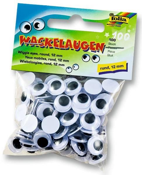 Wackelaugen Ø 12 mm, rund, 100 Stück