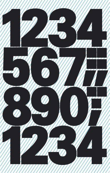 3781 Zahlen Etiketten 0 9, 25 mm, schwarz, selbstklebend, wetterfest, 28 Etiketten