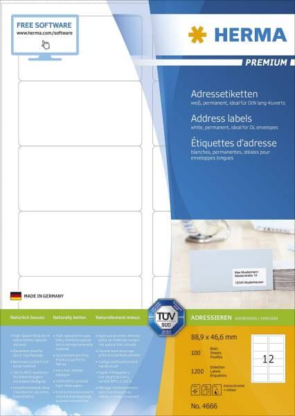 HERMA Adressetiketten Premium 88,9x46,6 mm ws 4666 DIN-Kuvert 1200 St. permanent