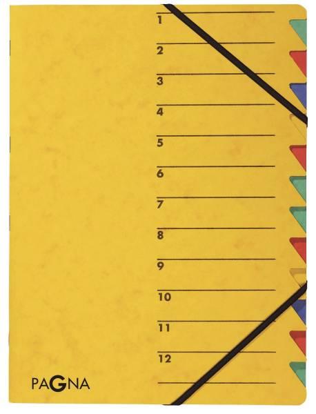 Ordnungsmappe EASY 12 Fächer, A4, Pressspan, 265 g qm, gelb