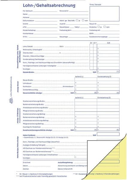 1759 Lohn Gehaltsabrechnung, DIN A4, selbstdurchschreibend, 2 x 40 Blatt 10 Stück, weiß, gelb