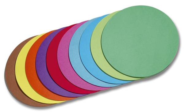 Faltblätter rund Ø 10 cm 10 Farben sortiert, 500 Blatt, 70g qm