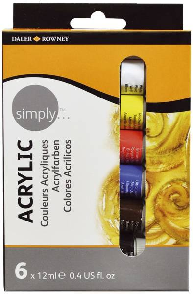 DALER ROWNEY Acrylfarbe Simply 12ml 6er-Set D126500006