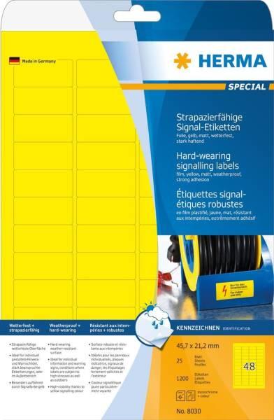 HERMA Folienetiketten 45,7x21,2 mm gelb 8030 wetterf. 1200 St extra stark
