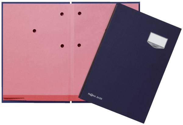 Unterschriftsmappe DE LUXE 20 Fächern, A4, Leinen Einband, blau