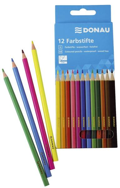 Farbstifte 3 mm, 12 Farben, Kartonetui