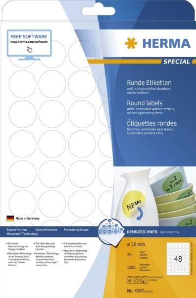 4387 Etiketten A4 weiß Ø 30 mm rund Movables ablösbar Papier matt 1200 St