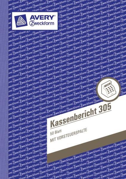 305 Kassenbericht, DIN A5, vorgelocht, 50 Blatt, weiß