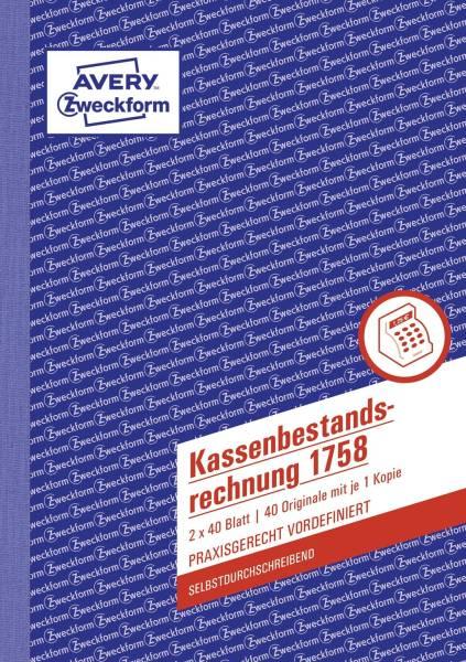 1758 Kassenbestandsrechnung, DIN A5, selbstdurchschreibend, 2 x 40 Blatt, weiß, gelb