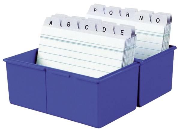 Karteibox DIN A5 quer, für 450 Karten mit Stahlscharnier, blau